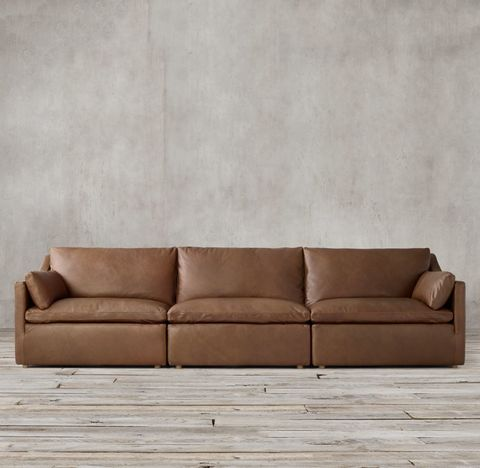 Cloud Slope Arm Modular Leather Sofa Sectional