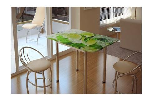Стол обеденный с принтом Лайм Белый/лайм