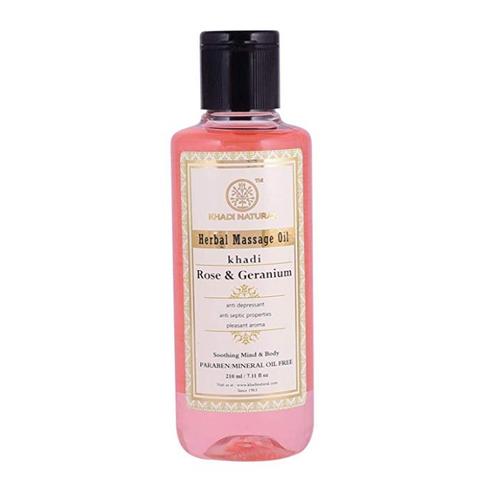 """Массажное масло """"Роза и Герань"""" - без парабенов и минерального масла Khadi Natural, 210 мл"""