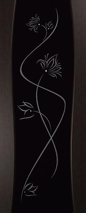 Дверь межкомнатная,Россич Дева, стекло Лотос (рис. с 2х сторон) , Цвета: Дуб черный