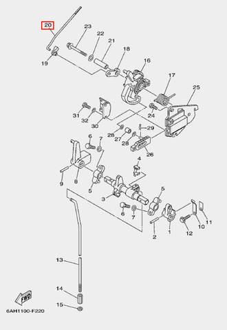 Вал дросселя для лодочного мотора F20 Sea-PRO (18-20)