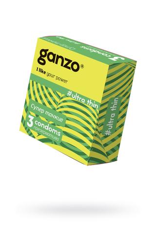 Презервативы Ganzo Ultra thin, ультратонкие, латекс, 18 см, 3 шт фото