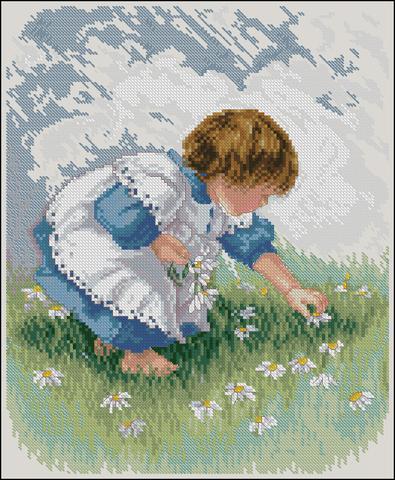 Девочка собирающая ромашки (Collecting Daisies)