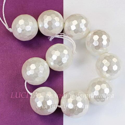 Бусина Перламутр, шарик с огранкой, цвет - белый, 14 мм, нить