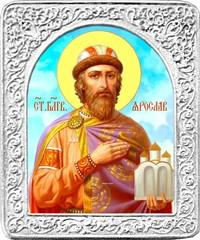 Святой Ярослав. Маленькая икона в серебряной раме.