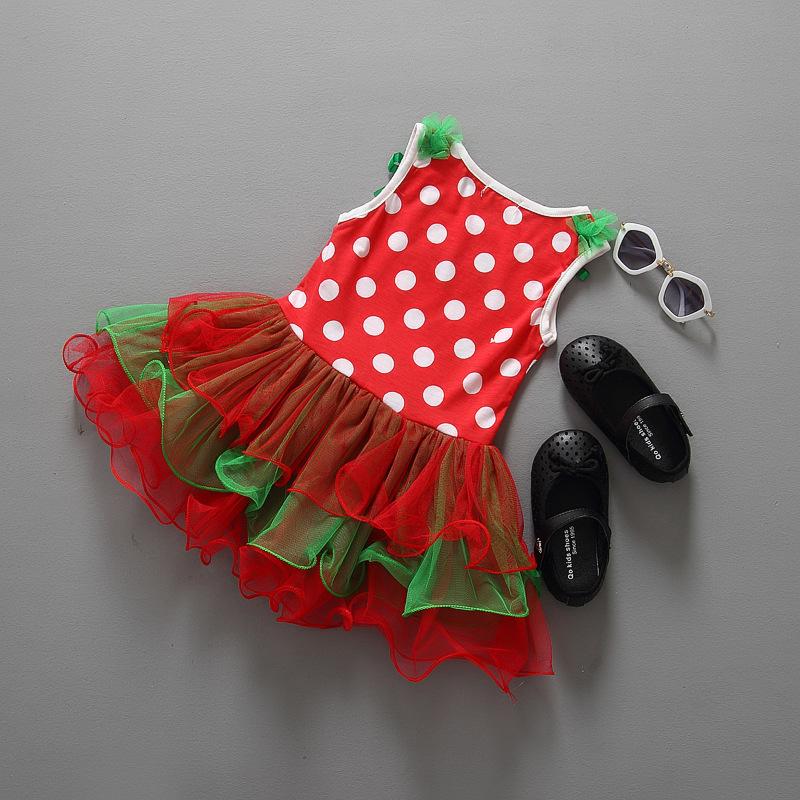 Платье детское праздничное для девочки с аппликацией Санта