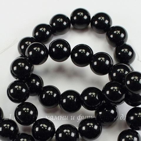 Бусина Агат (искусств), шарик, цвет - черный, 10 мм, нить