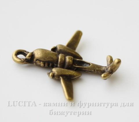 """Подвеска 3D """"Самолет"""" 23х22 мм (цвет - античная бронза)"""