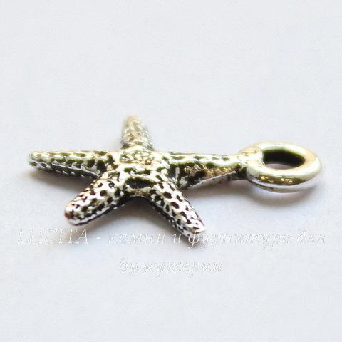 """Подвеска TierraCast """"Морская звезда"""" маленькая (цвет-античное серебро) 13х10 мм"""