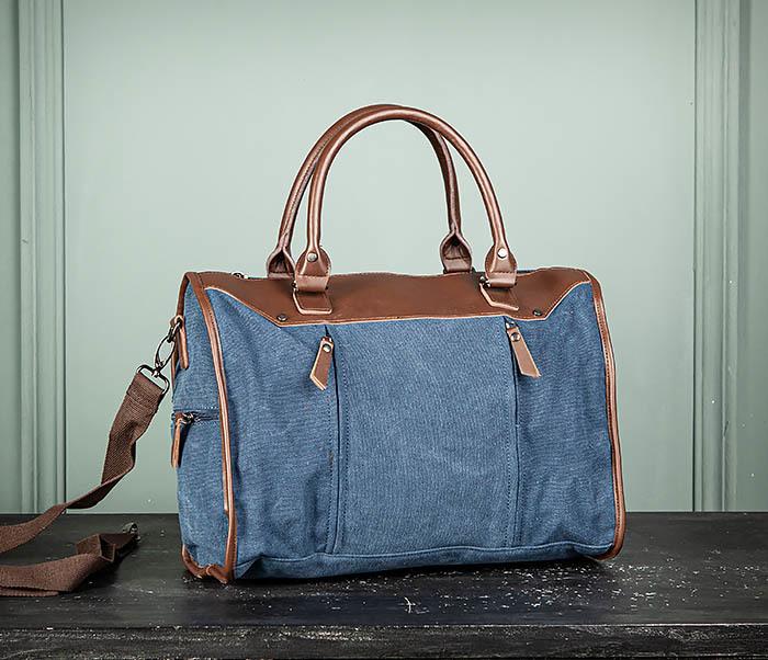 BAG501-3 Сумка для ручной клади из ткани синего цвета фото 02