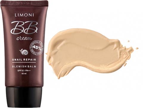 Крем для лица маскирующий Limoni  Snail Repair BB Cream тон 01, 50 мл.