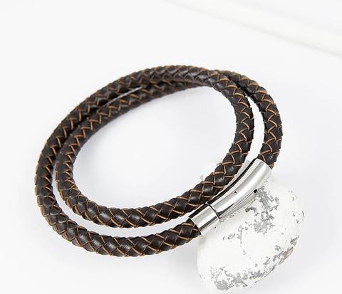 Мужской двойной браслет из кожаного шнура (20 см)