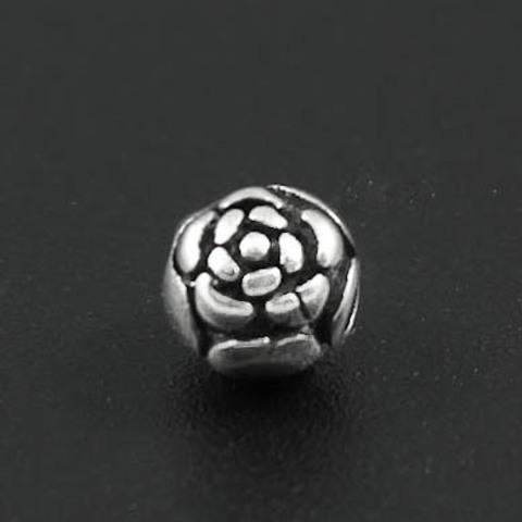 Бусина Роза 6,5 мм серебро 925