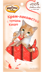 Мнямс Крем -лакомство для кошек с тунцом Кацуо 4*15гр