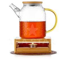 """Заварочный стеклянный чайник """"Меркурий"""" с подставкой подогревом от свечи из бамбука"""