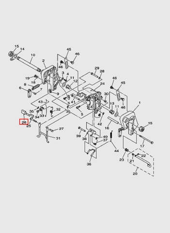 Ручка рычага поворотного  для лодочного мотора T15, OTH 9,9 SEA-PRO (13-26)
