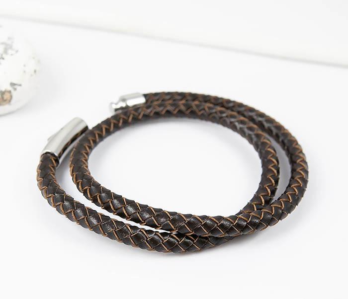 BM513-2 Мужской двойной браслет из кожаного шнура (20 см) фото 03