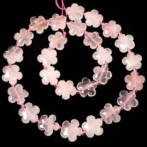 Бусина розовый кварц цветочек 15 мм 1 бусина