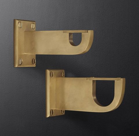 Bayonne Solid Brass End Brackets (Set of 2) - Burnished Brass