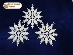 Пластиковый декор Белая снежинка № 4