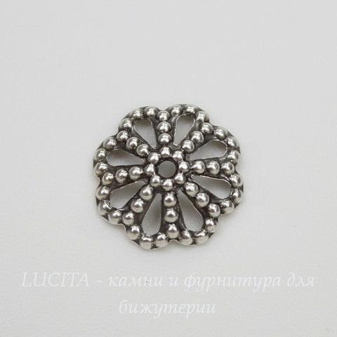 Винтажный декоративный элемент - шапочка 9х2 мм (оксид серебра)