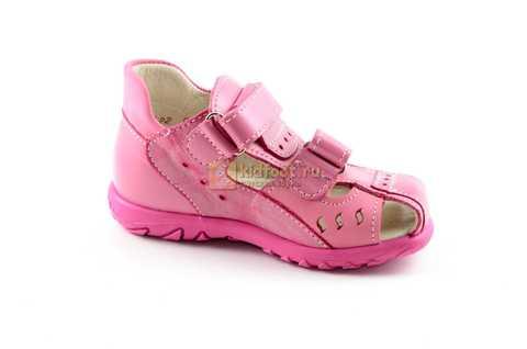Босоножки Тотто из натуральной кожи с закрытым носом для девочек, цвет розовый. Изображение 2 из 12.