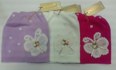 Шапка для девочек с бабочкой Разные цвета