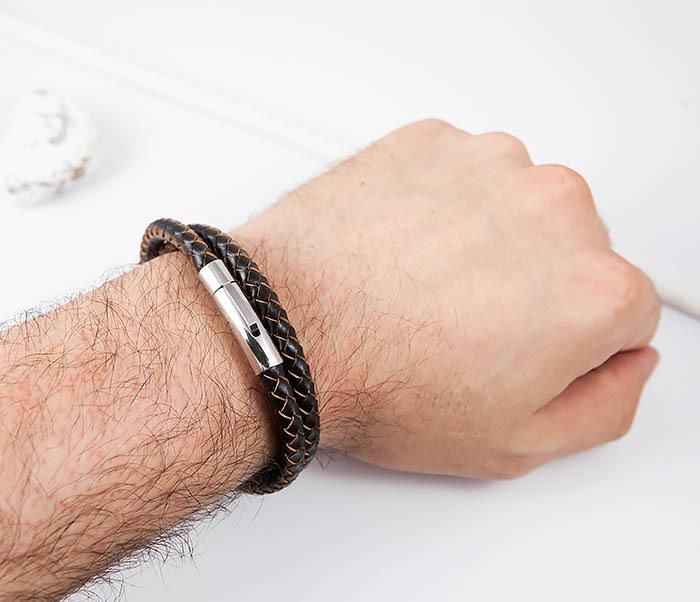 BM513-2 Мужской двойной браслет из кожаного шнура (20 см) фото 06
