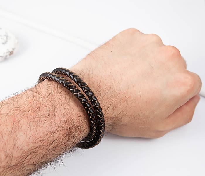 BM513-2 Мужской двойной браслет из кожаного шнура (20 см) фото 07