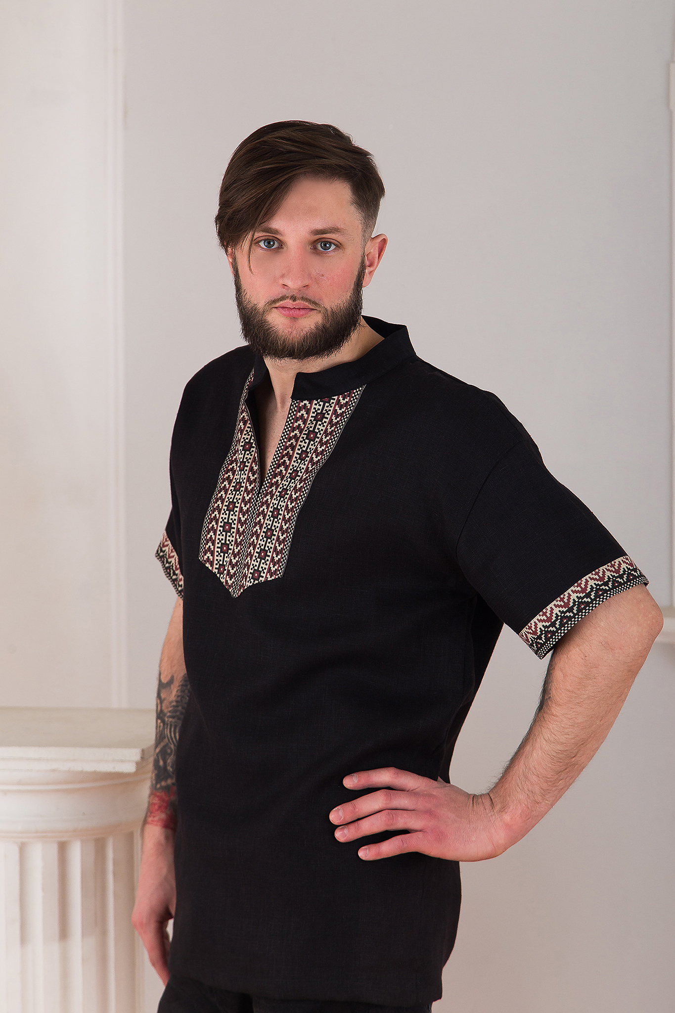 Рубаха мужская Горная с коротким рукавом черная от Иванка