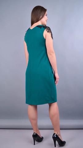 Эльмира. Стильное платье для женщин плюс сайз. Изумруд.