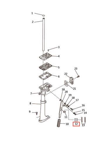 Шпонка вертикального вала для лодочного мотора T2,5 SEA-PRO (7-12)