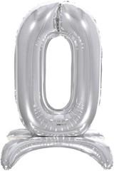 К Шар цифра (32''/81 см) , 0 на подставке, Серебро, 1 шт. в упак.