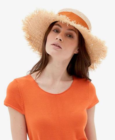 Соломенная шляпа с оранжевой лентой