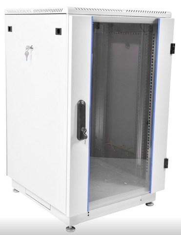Шкаф телекоммуникационный напольный 18U (600 × 800) дверь стекло, цвет чёрный