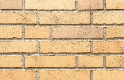Stroeher, фасадная клинкерная плитка, цвет 390 champagnersalz, серия Handstrich, узкая, состаренная поверхность, ручная формовка, 240x52x14