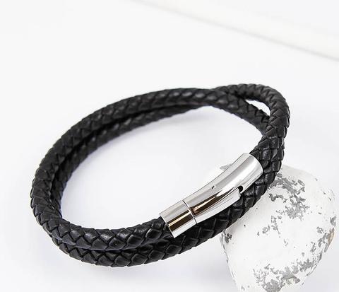 Мужской браслет двойной шнур черного цвета (20 см)