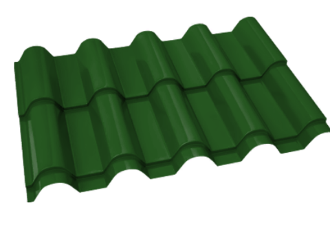 Металлочерепица Банга Полиэстер RAL 6002 Зеленый лист 0,45 мм