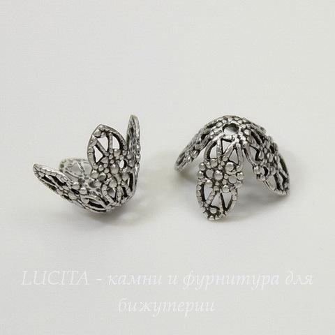 Винтажный декоративный элемент - шапочка филигранная 12х7 мм (оксид серебра)