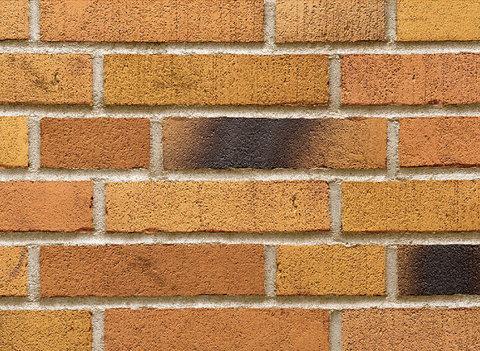 Stroeher, фасадная клинкерная плитка, цвет 391 ockererz, серия Handstrich, узкая, состаренная поверхность, ручная формовка, 240x52x14
