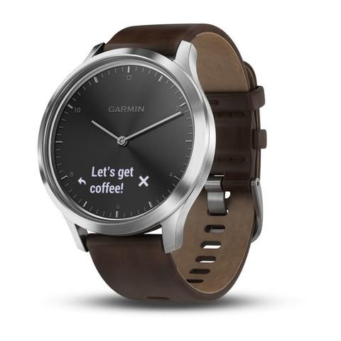 Купить Умные часы Garmin Vívomove HR Premium серебряные с темно-коричневым большим кожаным ремешком 010-01850-24 по доступной цене