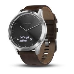 Часы Garmin Vívomove HR Premium серебряные с темно-коричневым большим кожаным ремешком 010-01850-24