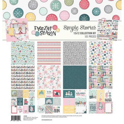 Набор двусторонней бумаги со стикерами 30х30 см - Simple Stories Collection - Freezin' Season