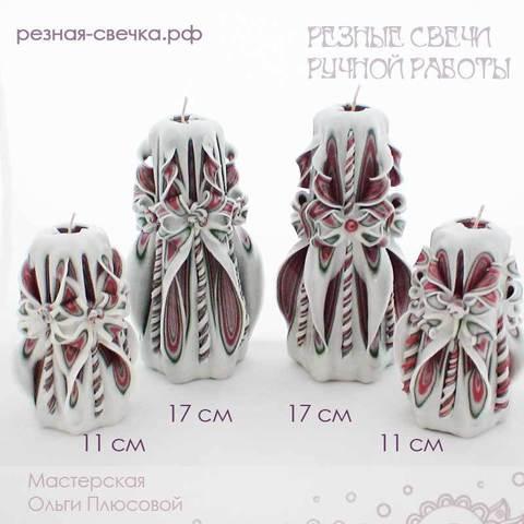 Подарочный набор резных свечей Новогодний белый 2
