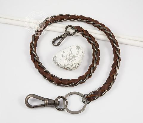 KR116-2 Брелок шнур из натуральной кожи коричневого цвета и металла (62 см)