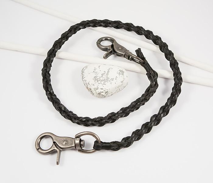 Оригинальный кожаный брелок шнур с карабинами (60 см)