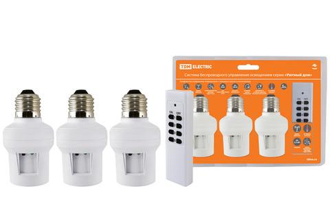 Комплект для беспроводного управления освещением диммер ПУ3-П2.3-Е27 (3 приемника)