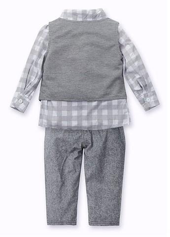 Комплект для мальчика рубашка+брюки+жилет серый