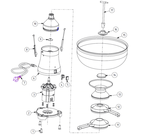 Устройство молочного сепаратора Milky FJ 90, электрический, бытовой