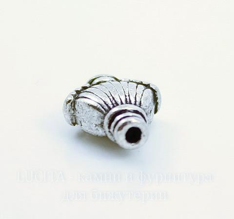 """Бусина металлическая """"Ракушка"""" 11х9 мм (цвет - античное серебро), 10 штук"""